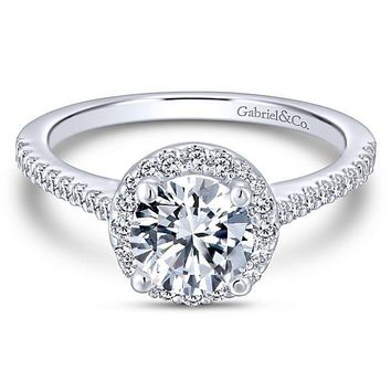 14K White Gold 1.29cttw Classic Pave Halo Round Diamond Engagement Ring