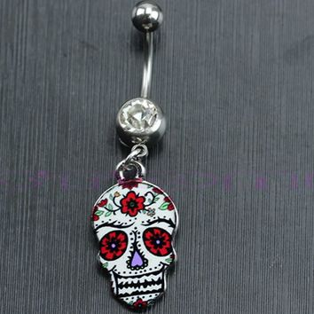 Navel Belly Ring Flowers Painted Skull Shape Button Body Piercing FREE SHIPPING!!!