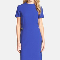 Women's Tahari Zip Detail Mock Neck Crepe Sheath Dress,