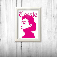 Audrey Hepburn the classic poster neon hot pink & black poster home decor illustration wall art cafe art poster digital poster art print A4.