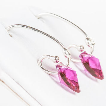 Summer Heart Earrings Swarovski Crystal Heart Earrings Fuchsia Pink Small Glamour