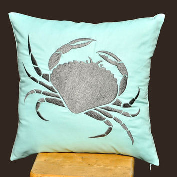 Crab Pillow Cover Gray Grab on Light Blue Pillow 18 x by KainKain