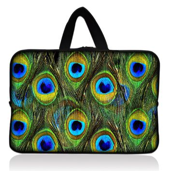 """Hot Design Green Peacock  Sleeve Case Bag Cover +Handle For 7"""" inch Barnes & Noble NOOK Tablet PC"""