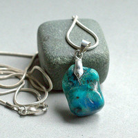 Chrysocolla pendant small size charm gemstone with silver plated bail and necklace