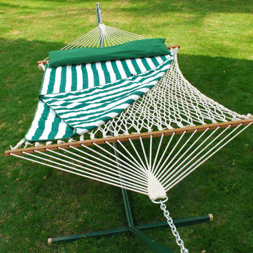 Adorable 13' Cotton Rope Hammock w/ Hanging Hardware, Pad, and Pillow by Algoma