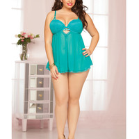 Mesh & Lace Underwire Babydoll W-adjustable Straps & Thong Teal 1x-2x