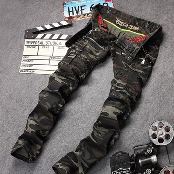 New Mens Camouflage Jeans Motocycle Camo Military Slim Fit Famous Designer Biker Jeans With Zippers Men VC2781