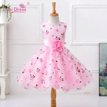 Retail Flower Dress In Sashes for Wedding Party Girls Floral Print Dress First Communion Dresses Size:100-150