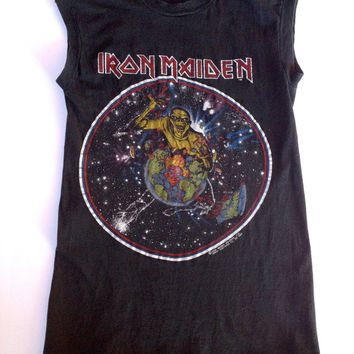 Vintage 80s IRON MAIDEN Piece Of Mind sleeveless concert shirt