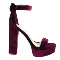 Tournament06M Burgundy by Bamboo, Burgundy Velvet 70's Retro Block Heel Platform Dress Sandal