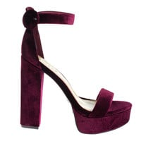#Tournament06M Burgundy by Bamboo, Burgundy Velvet 70's Retro Block Heel Platform Dress Sandal
