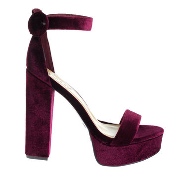 #Tournament06M by Bamboo, Burgundy Velvet 70's Retro Block Heel Platform Dress Sandal