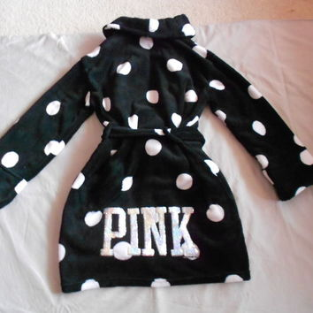 NEW BEAUTIFUL VICTORIA'S SECRET PINK POLKA DOT BLING SEQUIN ROBE/COVER UP XS-S