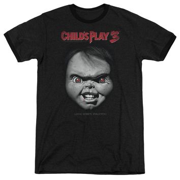 Childs Play Ringer T-Shirt Chucky Look Whos Stalking Black Tee