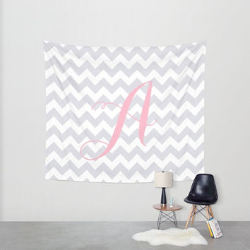 Baby Shower Decorations, Pink + Gray Chevron Wall Tapestry, Wall Hanging, Gray + White Decor, Grey + White Home Decor, Gray + White Nursery