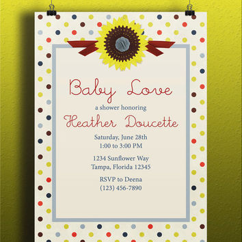 Instant Download-Ivory Polka Dots Sunflower Summer DIY Printable Birthday Party Baby Girl Shower Wedding Bridal Invitation Template