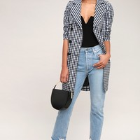 Rain Check Black and White Gingham Trench Coat