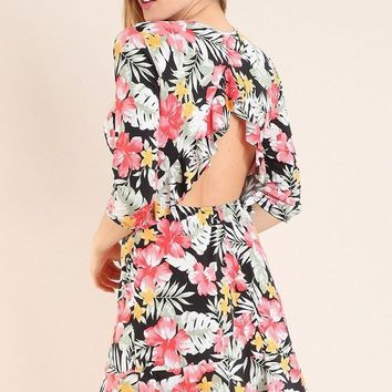 Romantic Language Black Tropical Floral Print Ruffled Backless Dress