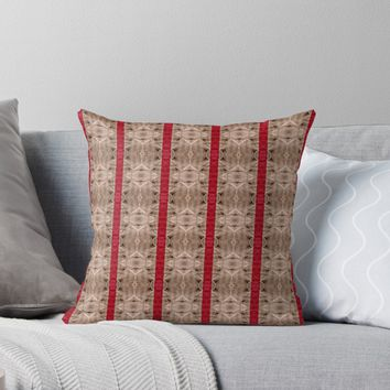 'Decorative Red Stripe Pattern Design' Throw Pillow by Sheila Wenzel Ganny