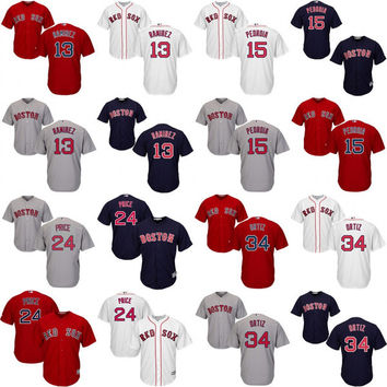 Youth and Men Cool Base Boston Red Sox 13 Ramirez 24 David Price 34 David Ortiz 15 Dustin Pedroia stitched Authentic Baseball Jerseys S-XL