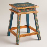 Blue and Orange Floral Wood Stool