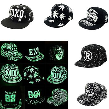 Luminous Sport Snapback Baseball Cap Night Glow Hip-hop Visor Flat Hat Men Women