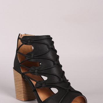 Qupid Distressed Strappy Cutout Chunky Heeled Booties