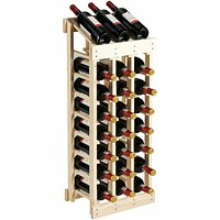 Sturdy Pine Wood Wine Rack Storage Display Shelf Holds 24