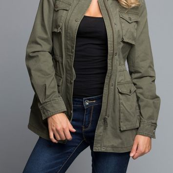 Cotton Utility Jacket in Olive