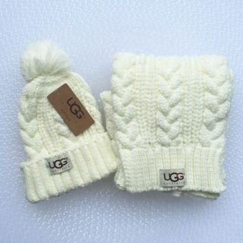 UGG Women Men Embroidery Beanies Knit Hat Warm Woolen Hat Scarf Set White