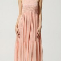 Gorgeous  Spaghetti Strap Carved Pleated Long Dress