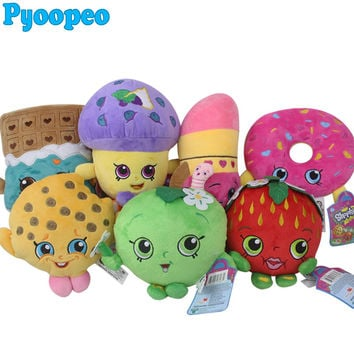 Pyoopeo 17-25cm Shopkins Doll Plush Toys Fruit Family Doll Stuffed Toys Strawberry Cookies Donuts Chocolate Muffin Lipstick