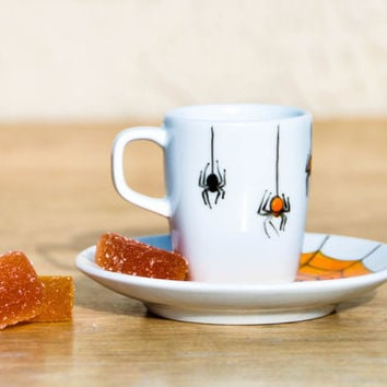 Orange and Black Spiders Porcelain Espresso Cup and Saucer set - Hand Painted Halloween Decor Coffee set - Made to order