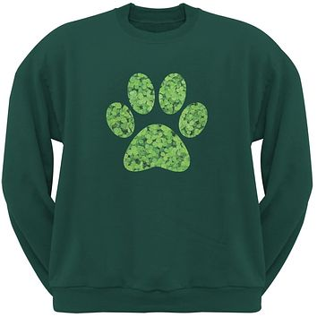 St. Patricks Day - Dog Paw Forest Green Adult Sweatshirt