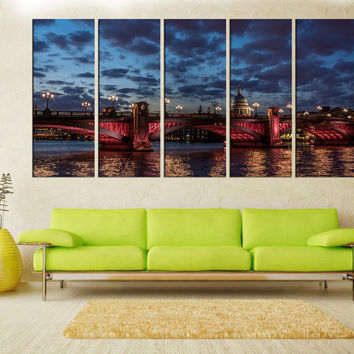 London times river skyline wall art canvas print, canvas art, Extra Large wall art photo Print, city skyline wall art canvas no:6s84