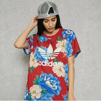 Adidas trefoil women's red floral Sport Short Sleeve T-Shirt