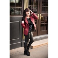 Burgundy Leatherette Jacket