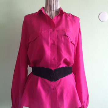 Pure Silk Shirt, Hot Pink Silk Blouse, Fuchsia Top, Pink Vintage Shirt, Button Down Shirt, Long Sleeve Shirt, Oversized Shirt, Size L