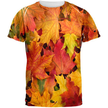 Autumn Fall Leaves All Over Adult T-Shirt