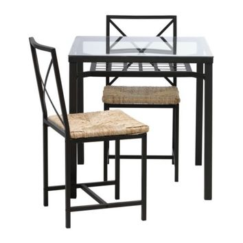 GRANÅS Table and 2 chairs, black, glass - IKEA