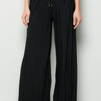 NAVY PLEATED PANTS SOLID WIDE LEG
