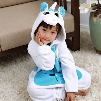Kigurumi Winter Pajamas For Children Girls Unicorn Cartoon Animal Kids Costume Boys Onesuit Sleepwear Jumpsuit  4 6 8 10 12 Years