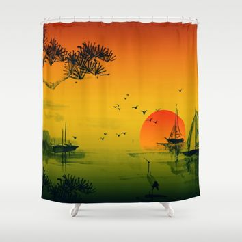 Japanese Sunset Shower Curtain by Inspired Images
