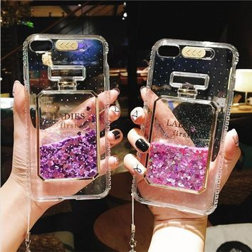 for iPhone X Luxury Glitter Calling Flash Light Case for iPhone 6 6S 7 8 Plus Cover New Fashion Bling Liquid Perfume Bottle Case