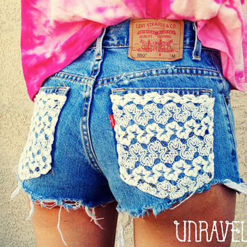 Lace pocket shorts high waisted Size by UnraveledClothing on Etsy