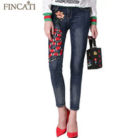 Runway Branded Autumn Mid Waist Pantalon Femme Trousers Denim Jeans Snake Embroidered Stretch Elastic Skinny Women Pencil Pants