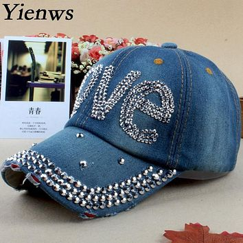 Yienws Women Baseball Cap For Woman Jeans Denim Cap Brim Curved Cap Diamond Painting Love Trucker Summer Cap YH275