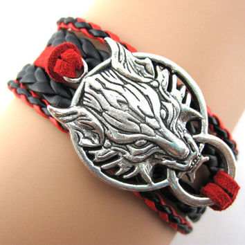 Wolf bracelet, jewelry, boyfriend, girlfriend, gifts, Leather bracelet, Christmas gifts,A1