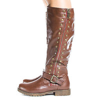 Monterey01 Knee High Studded Motto Faux Wooden Heel Riding Boots