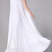 White Sleeveless Chiffon Maxi Dress